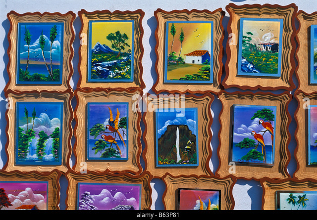 Venezuela shopping souvenirs framed hand painted tiles Isla Margarita island south america tourism south american - Stock Image