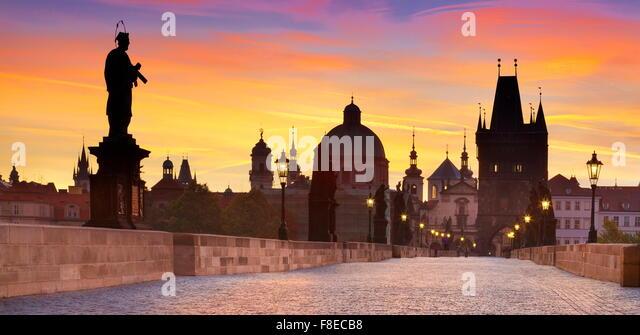 Charles Bridge before sunrise, Prague Old Town skyline, Czech Republic, UNESCO - Stock Image