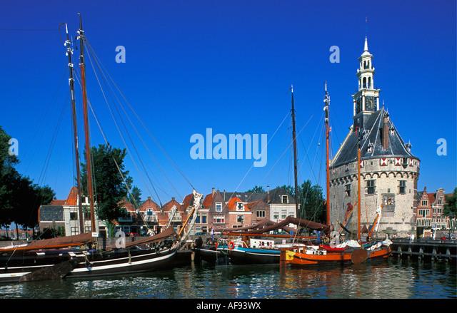 Netherlands Hoorn Sailboats at ancient harbor - Stock-Bilder