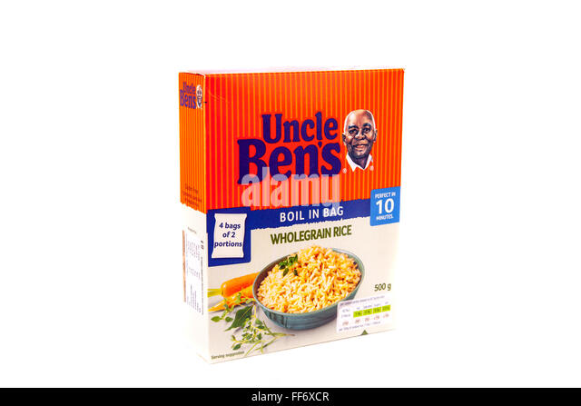 Uncle Ben's rice boil in the bag wholegrain rice box cutout cut out white background isolated - Stock Image
