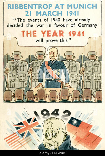 Joachim von Ribbentrop, caricature. A proud Ribbentrop is shown speaking at Munich in 1941: 'The events of the - Stock Image