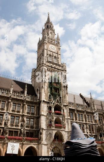 City hall tower on Marienplatz Munich - Stock Image