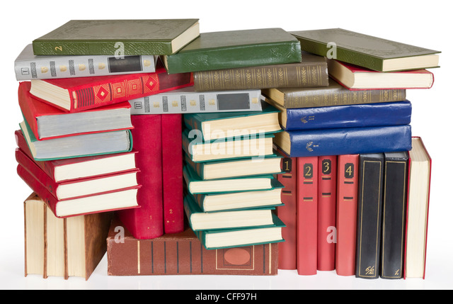 Old retro color covers books heap on white background image. Contains patch - Stock Image