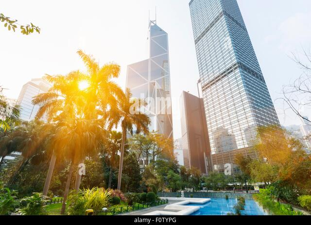 Statue square skyline including Bank of China building, Cheung Kong Center, Hong Kong, China - Stock Image