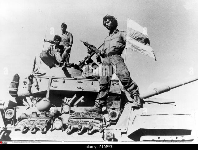 Yom Kippur War - An Israeli soldier on a tank - Stock Image