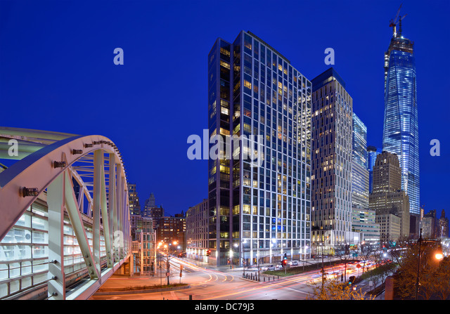 New York City, USA financial district cityscape at night including landmark office buildings. - Stock Image