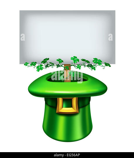 St.Patrick's day blank sign with a green leprechaun hat decorated in clover leaf and a banner inside with white - Stock Image