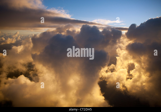 Clouds in Sunrise, Caribbean, Dominica - Stock Image