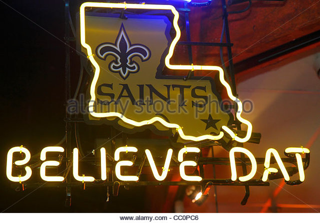 New Orleans Louisiana Canal Street downtown Believe Dat ad campaign New Orleans Saints Super Bowl winners football - Stock Image