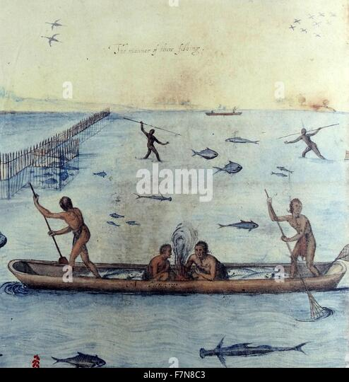 Watercolor drawing 'Indians Fishing' by John White (created 1585-1586). - Stock-Bilder