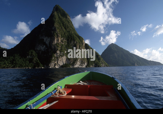 West Indies St. Lucia Soufriere Bay Les Pitons mountains water taxi boat - Stock Image