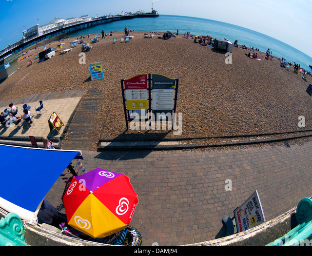 Planet Brighton - Albion Beach and Brighton Pier - extreme wide-angle picture - Stock Image