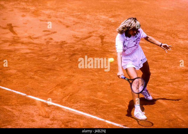 Steffi Graf (GER) competing at the 1988 French Open. - Stock-Bilder