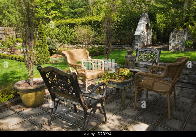 Spring garden chair stock photos spring garden chair for Outdoor furniture quebec