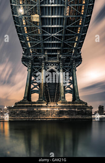 Moody symmetrical perspective under Manhattan Bridge at night. - Stock Image