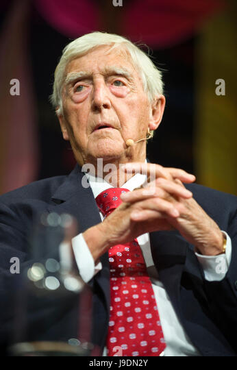 Michael Parkinson speaking on stage at Hay Festival 2017 Hay-on-Wye Powys Wales UK - Stock Image