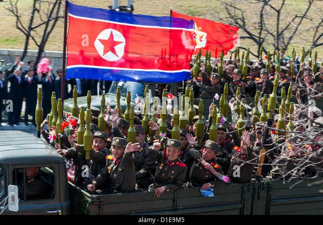 Military parade during celebrations on the 100th anniversary of the birth of President Kim Il Sung, Pyongyang, North - Stock Image