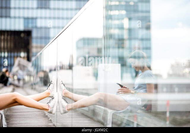 Lifestyle portrait of a business woman outdoors - Stock Image