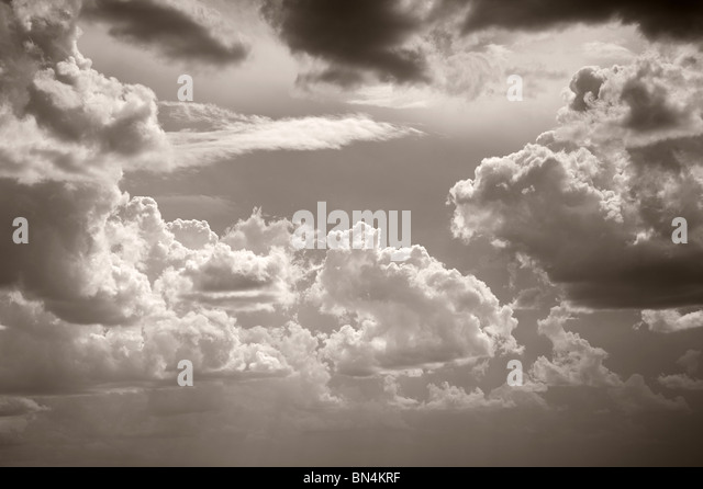 Black and White Sepia Toned Sky and Clouds - Stock-Bilder