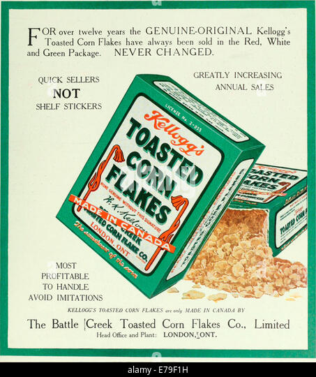 Archival Canadian advertising for Kellogg's Toasted Corn Flakes circa 1919. - Stock Image