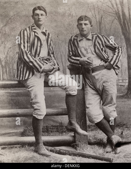 Two baseball players, Stagg and Warner, Yale, posed, standing, full-length, circa 1895 - Stock Image