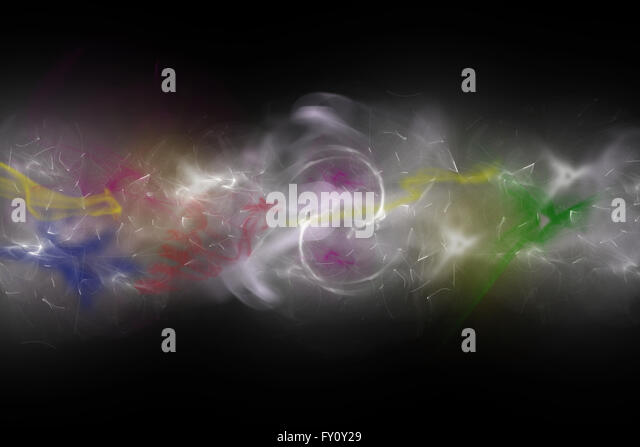 Background composed of colored unfocused smoke and lights on the black background. - Stock Image