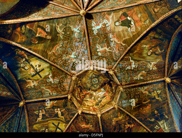 Painted ceiling inside the 17th Chapel of the Black Penitents, Villefranche de Rouergue, Aveyron, France - Stock Image