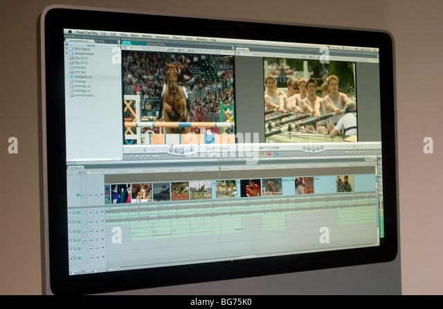 'Apple Final Cut Pro 7', video editing software displayed on imac - Stock Image