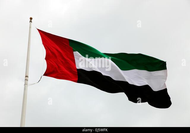 United Arab Emirates flag Abu Dhabi - Stock Image