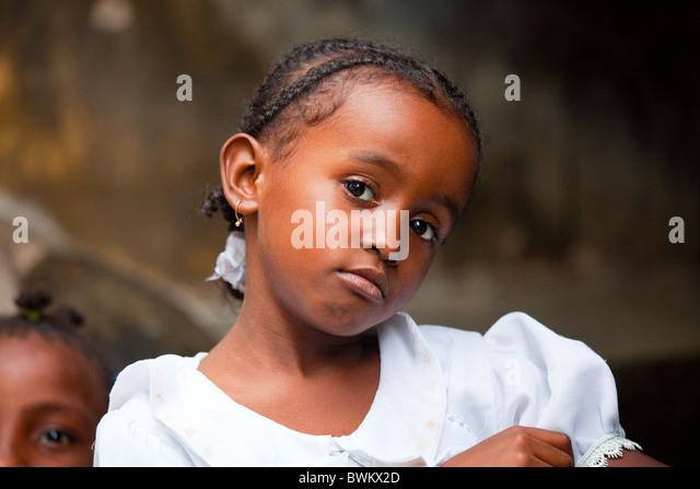 Little girl on Lamu Island, Kenya - Stock Image