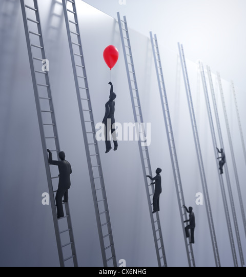 Tiny abstract people climbing ladders - innovation and advantage in business concept - Stock-Bilder