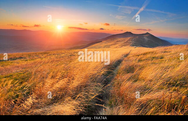 Sunset at Bieszczady Mountains, Poland - Stock Image