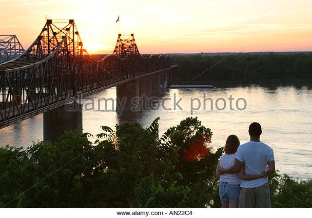 Mississippi Vicksburg Mississippi River Bridges sunset - Stock Image