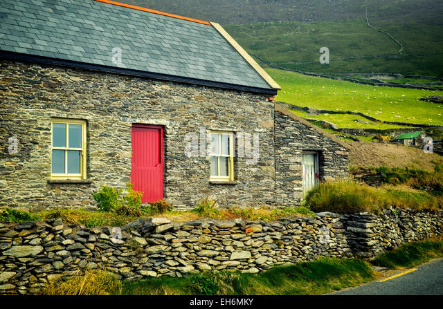 Stone house and sheep in pasture with stone fences on Slea Head Drive. Dingle Peninsula, Ireland. - Stock Image
