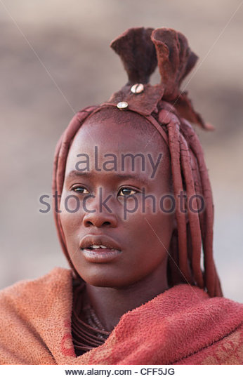 Himba woman portrait, Purros, Namibia, Africa - Stock Image
