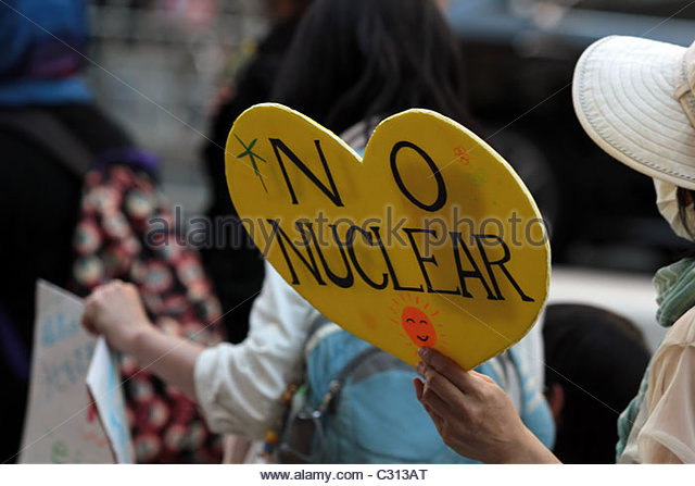 Activists in a march of 5,000 people in Shibuya call on the Japanese government to abandon nuclear energy and choose - Stock Image