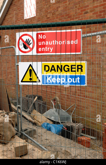 House extension building site signs - Stock Image
