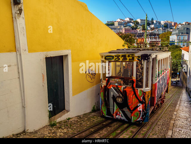 View of the Lavra Funicular, Lisbon, Portugal - Stock-Bilder