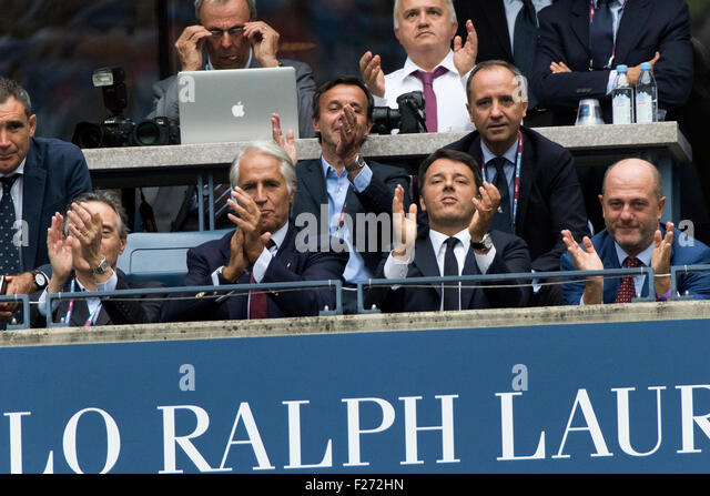 Italian prime minister Matteo Renzi (third from left) watches Flavvia Pennetta (ITA) and Roberta Vinci (ITA) in - Stock Image