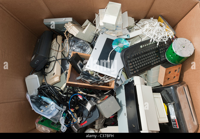 Electronic goods collected for recycling in Santa Barbara at earth day. - Stock Image
