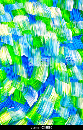 Broad strokes of acrylic paint in an abstract flowing pattern. - Stock Image