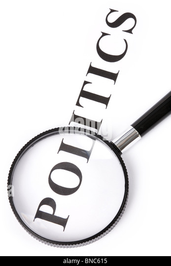 headline politics and magnifier, concept of politics decision - Stock Image
