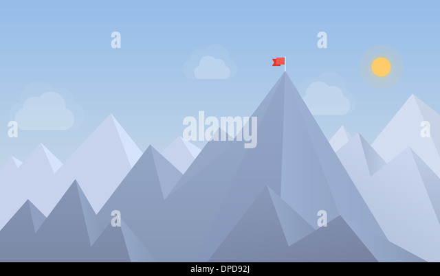 Flat design modern illustration concept of flag on the mountain peak, meaning overcoming difficulties and goals - Stock-Bilder