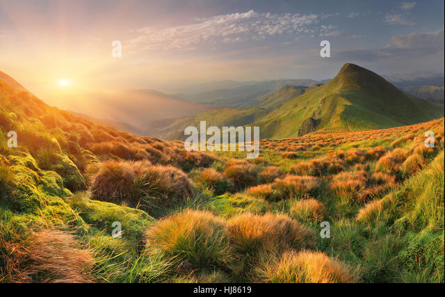 Beautiful summer landscape in the mountains. Sunrise - Stock Image