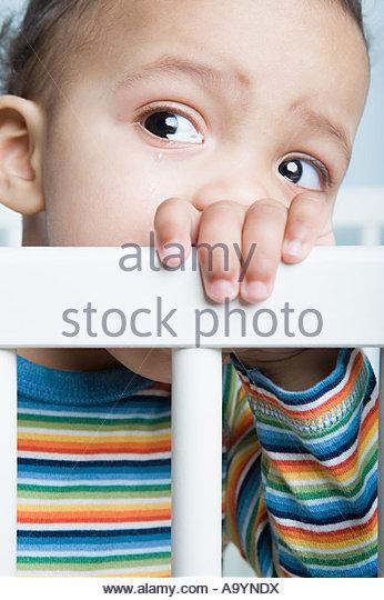Baby boy crying - Stock Image