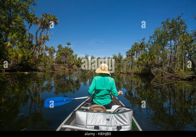 CANOEING, Chassahowitzka National Wildlife Refuge, Florida, USA. Model Release available. - Stock Image