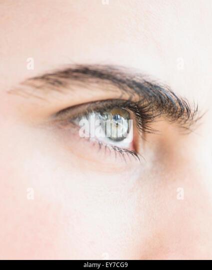 Close-up of blue eye - Stock Image