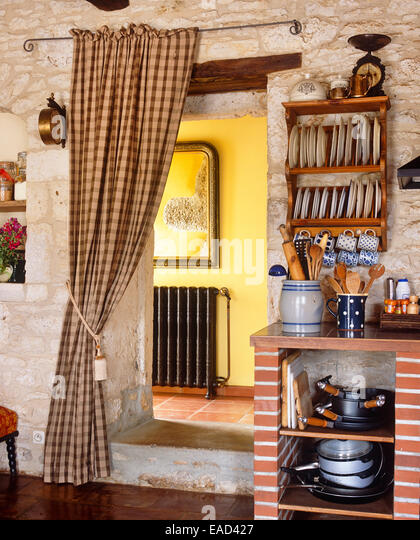 kitchen entry in French country side stone house - Stock-Bilder