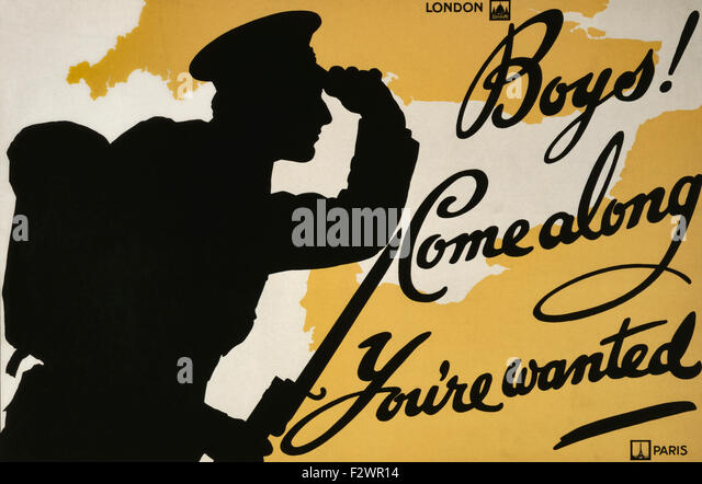 World War One recruiting poster.  Boys! Come Along You're Wanted. - Stock Image