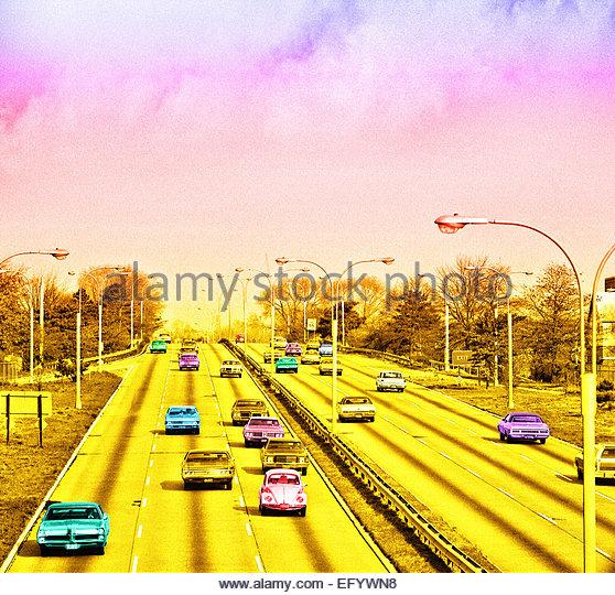 American vintage cars freeway retro grainy image - Stock Image